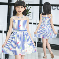 Foreign Trade Children's Garment Piece Due-out New Pattern Girl Summer Wear Princess Dress Children Stripe Kids Clothing Prined