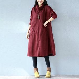 Image 3 - Women Autumn Winter Dress Solid Casual Fashion Turtleneck Cashmere Loose Lady Big Size Female Long Sleeve Plus Size New Dresses