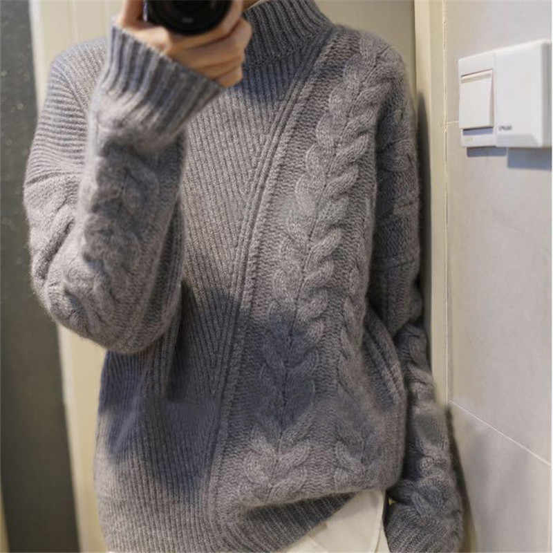 Autumn winter women's new half-high collar cashmere sweater loose asymmetric twist short sweater female pullover