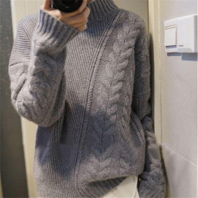 סתיו חורף נשים חדש חצי-גבוהה צווארון קשמיר סוודר loose אסימטרית טוויסט קצר סוודר נשי סוודר