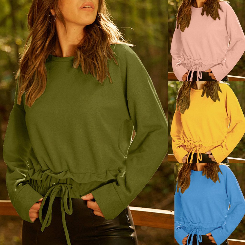 MUQGEW 2019 Pure Color Womens Fashion Long Sleeve O-neck T-shirt Solid Casual Elastic Bottoming Tops Best Sell