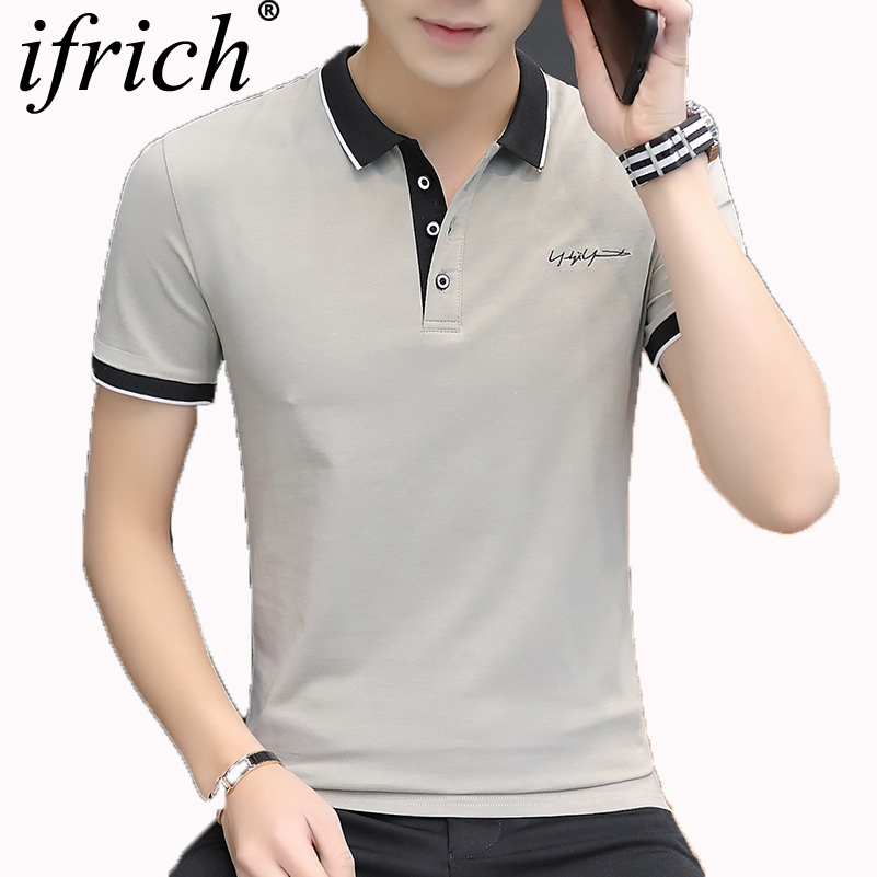 IFRICH   Polo   Shirts Men 2019 Spring Summer New Arrival Men's Shirt Solid Color Business Casual Tops Short Sleeve Cotton Tees Tops