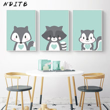 Woodland Animal Picture Fox Monkey Children Poster Baby Nursery Wall Art Canvas Print Cartoon Painting Nordic Kids Bedroom Decor(China)