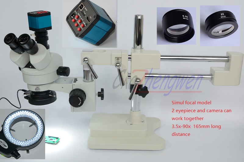 Fyscope microscopio set 3.5X-90X microscopio doble boom stand simul focal zoom microscopio estéreo + 14MP HDMI Cámara 144 unids led