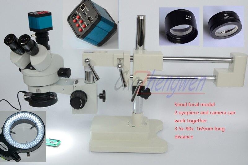 Microscópio FYSCOPE Microscópio 3.5X-90X Boom Duplo Suporte Simul Focal Stereo Zoom Microscópio + 14MP HDMI camera + 144pcs led