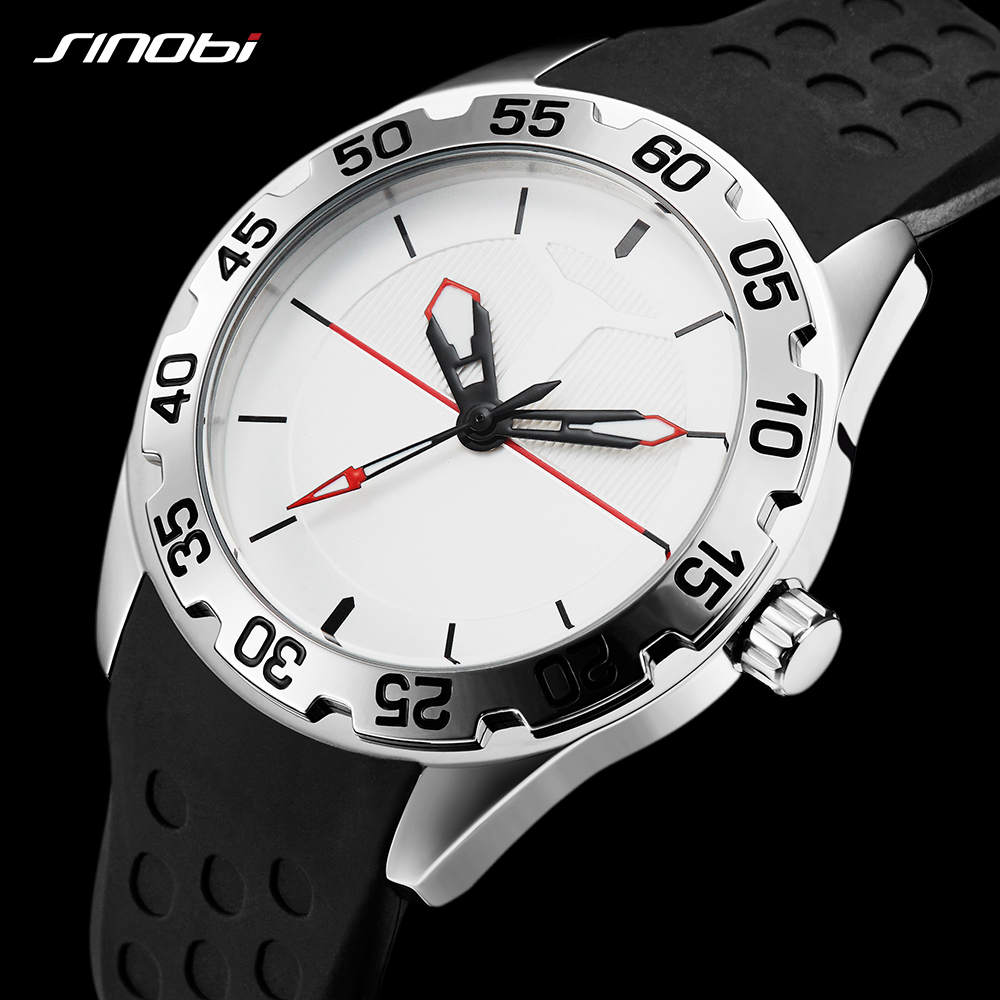 SINOBI Watch Men Sport Quartz Watches Top Luxury Brand Clock Silicone Waterproof Geneva Saat Fashion & Casual Relogio Masculino new watches men luxury brand sinobi sport casual quartz watch fashion mesh strap waterproof clock male relogio masculino