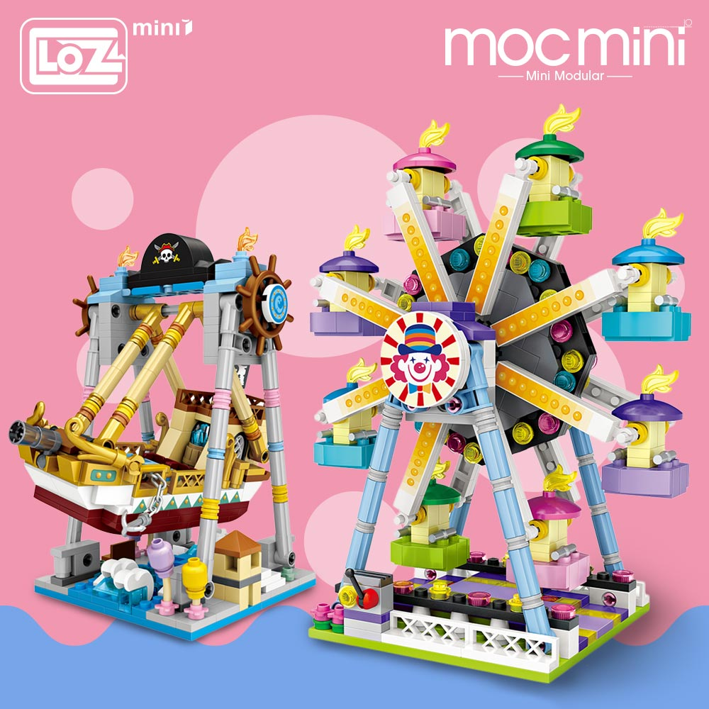 LOZ Mini Blocks Amusement Park Brick Building Blocks Toys for Kids Assembly DIY Children Street City View Educational 3d Model assembly mini street store blocks sembo cute bar drink small shop model toy luxury educational kids gift xmas present sd6038