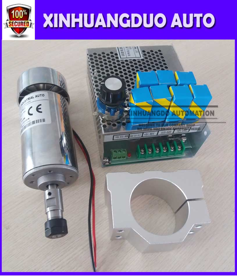 cnc spindle 300W air cooled milling Motor spindle speed power converter 52mm clamp 7pcs er11 collet