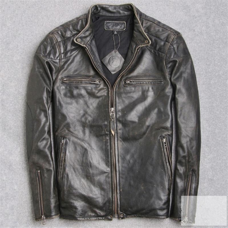 2017 Men Retro Vintage Black Genuine Leather Motorcycle Jacket Sim Fit Men Winter Short Real Sheepskin Biker Coat FREE SHIPPING