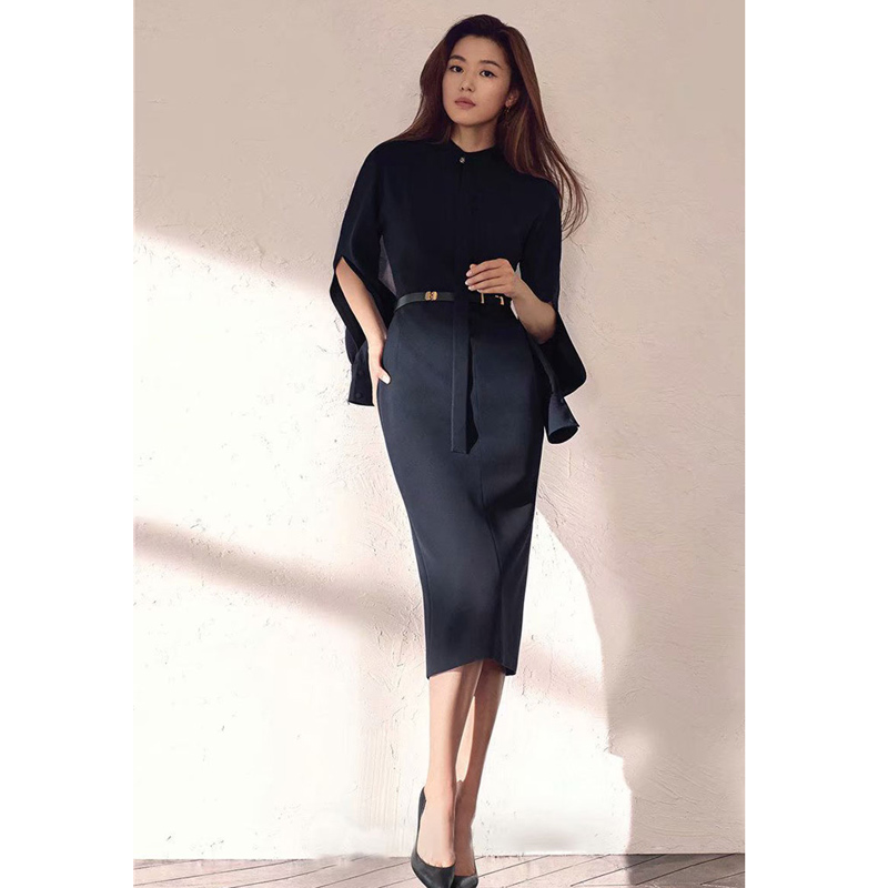 Women Runway Dress 2019 High Quality Stand Collar Split Long Sleeve Belted  Pencil Dresses Sexy Bodycon Office Dress  NP0248C