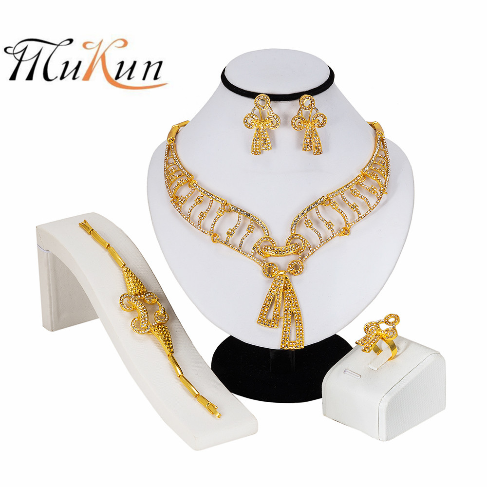 MUKUN NEW Luxury Parure Bijoux Femme Dubai Gold Necklace Sets Fashion Indian African Beads Jewelry Big For Women Party Wedding