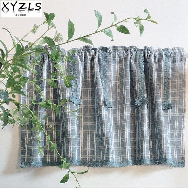 Xyzls New European Retro Blue Art Plaid Kitchen Curtains With Tel Shade Cafe Curtain Short Door Window Panel Drape
