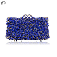 XIYUAN BRAND Gift Box Packed Women Stones Crystal Rhinestones Metal Clutches Evening Bag Wedding Cocktail Hardware Handbag Purse