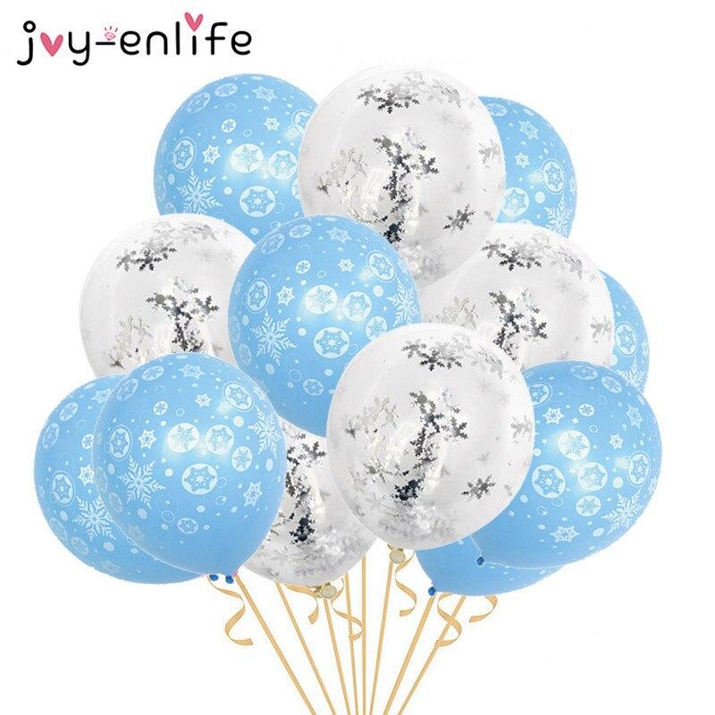 15 шт. Рождественская Снежинка шары снег на тему дня рождения конфетти воздушные шарики, детские игрушки Рождественский Новый Год Вечерние поставки|Воздушные шары и аксессуары|   | АлиЭкспресс