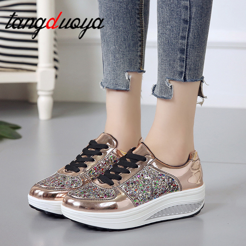 Spring Autumn Wedges Shoes Women Casual Tenis Golden Women Wedge Shoes Lace Up Trainers Shoes Bling Chaussure Femme 2019
