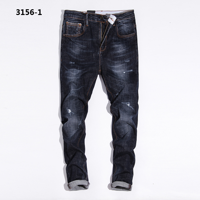 Casual Dark Blue Denim Overalls Jeans Men High Grade Mid Stripe Distressed Slim Fit Brand Men`s Stretch Jeans Masculino 3156-1 denim overalls male suspenders front pockets men s ripped jeans casual hole blue bib jeans boyfriend jeans jumpsuit or04