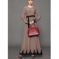 Zmvkgsoa Women Long Sleeve Maxi Dress Islamic Clothing Muslim Kaftan Abaya Embroidery Ethnic Vintage Dresses Tunic