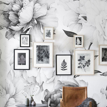 Peony Wallpaper Removable Floral watercolor sticker Black and white modern home decor diy art wall decorations living room mural