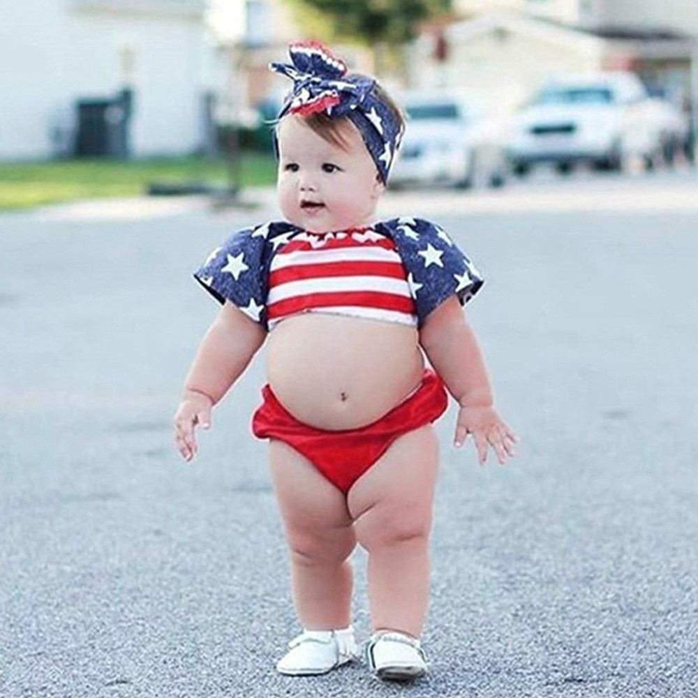 3Pcs baby summer clothes baby boy Stars Striped boys Tops+Shorts newborn Headbands 4th Of July baby girl outfit girls boys set