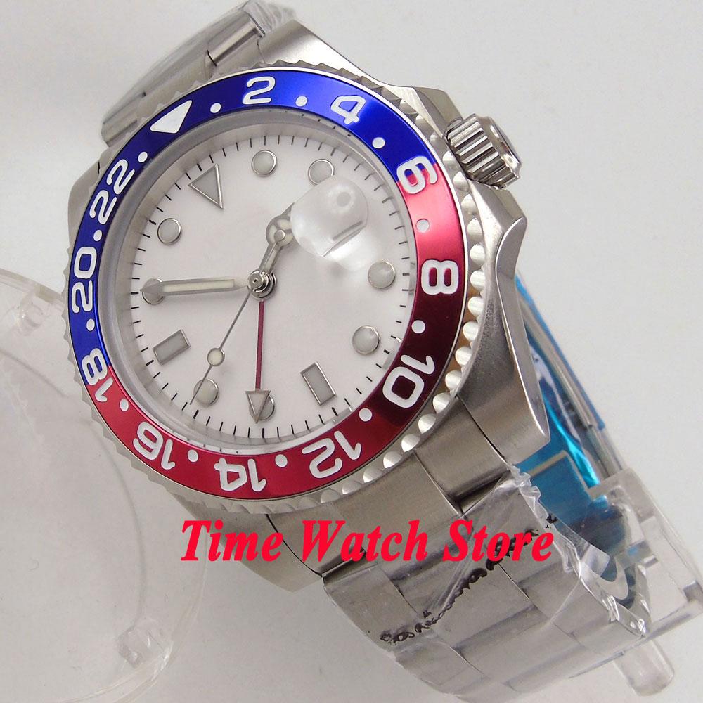 40mm men s watch GMT white sterile dial luminous saphire glass red blue Bezel Automatic movement