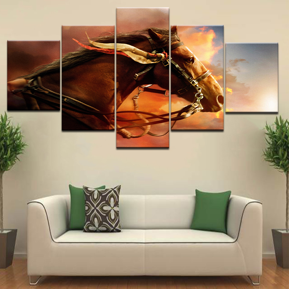 5 Panel/piece HD Print A brown horse sunset sky wall posters Canvas Art Painting For home living room decoration