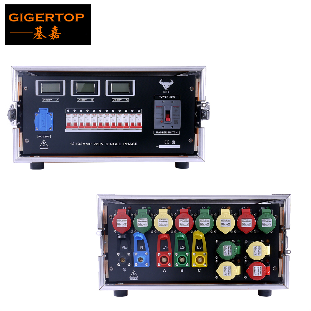 Gigertop 5U FLight Case Power Box LED Display Electrical Current Industrial Waterproof Power Plug 12 Way Power Out 32A For Stage
