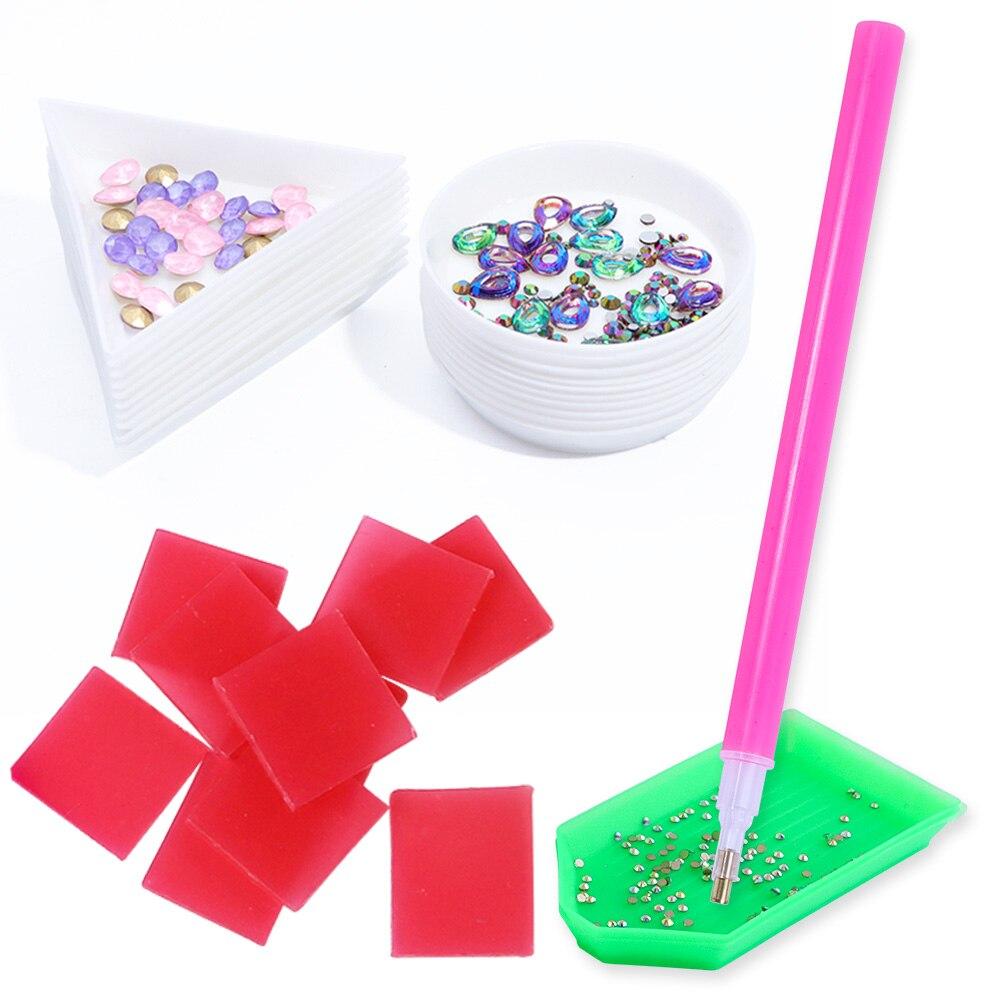 1 Set Nail Art Tools Dotting Pen Rhinestone Studs Picker Diamond Dots Painting Clay Nail Gems Holder Storage Display Tools JI992