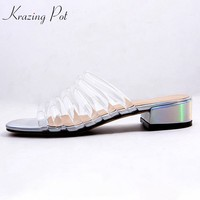 Krazing pot 2018 transparent material natural leather slip on med heels beach mules gladiator jelly sandals for wholesale L36