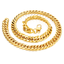 14mm Miami Curb Cuban Chain Necklace For Men Gold Color Thick Stainless Steel Hip Hop Long Big Chunky Rapper Necklace Jewelry