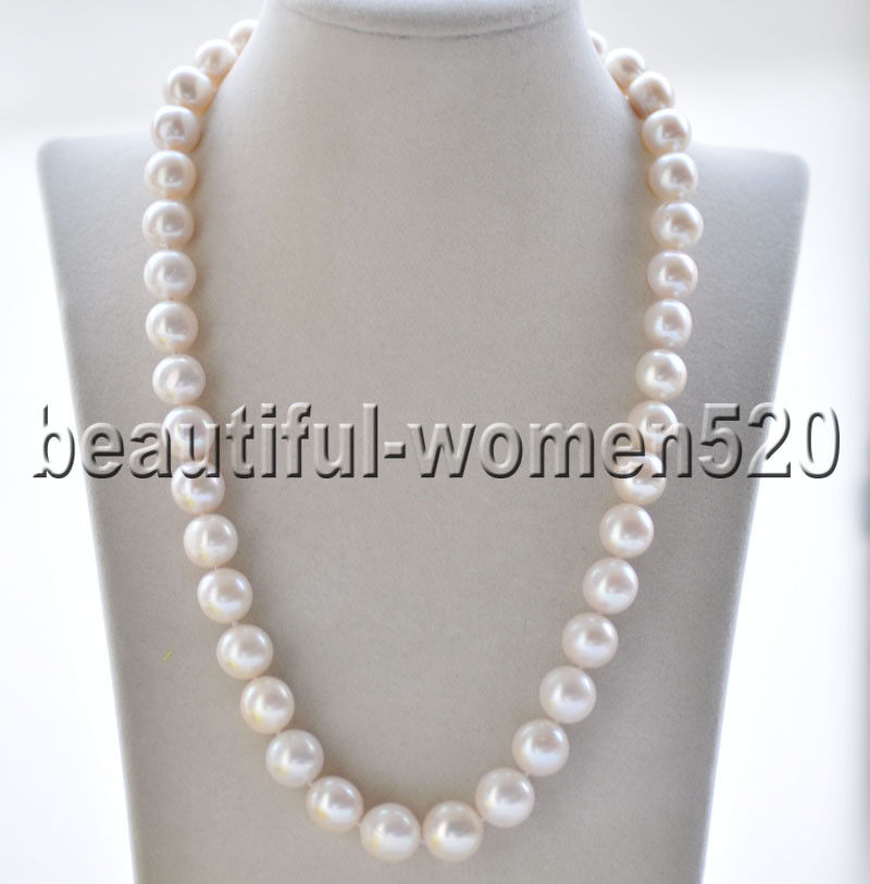 Z8898 A++ 14mm White Round Freshwater Pearl Necklace Magnetic 20inchZ8898 A++ 14mm White Round Freshwater Pearl Necklace Magnetic 20inch