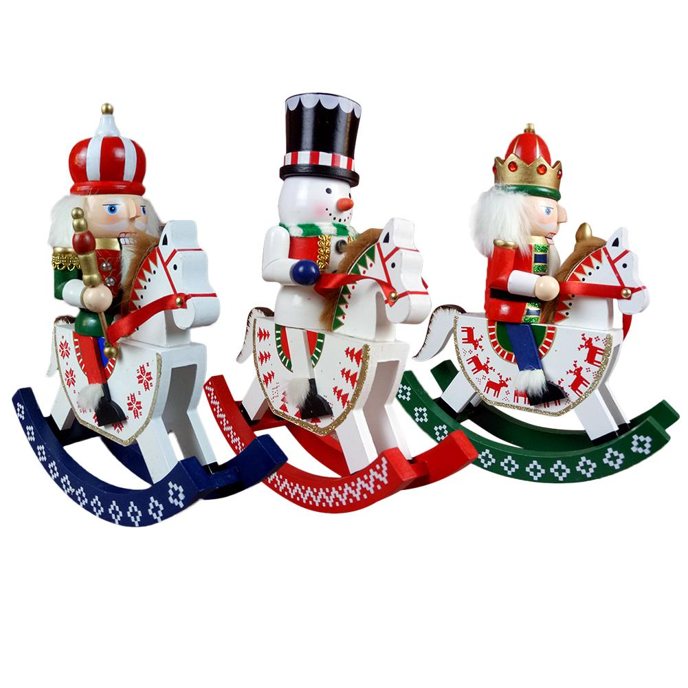 14 Inch Traditional King Nutcracker Wooden Puppet Figurine with Rocking Horse Collectible Craft Christmas Decoration