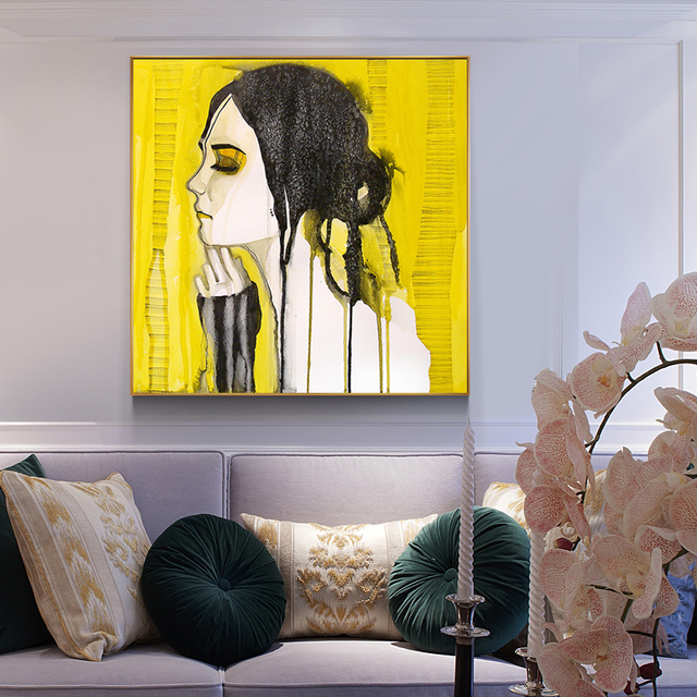 HD Abstract Yellow Tears Girl Posters And Prints Canvas Painting ...