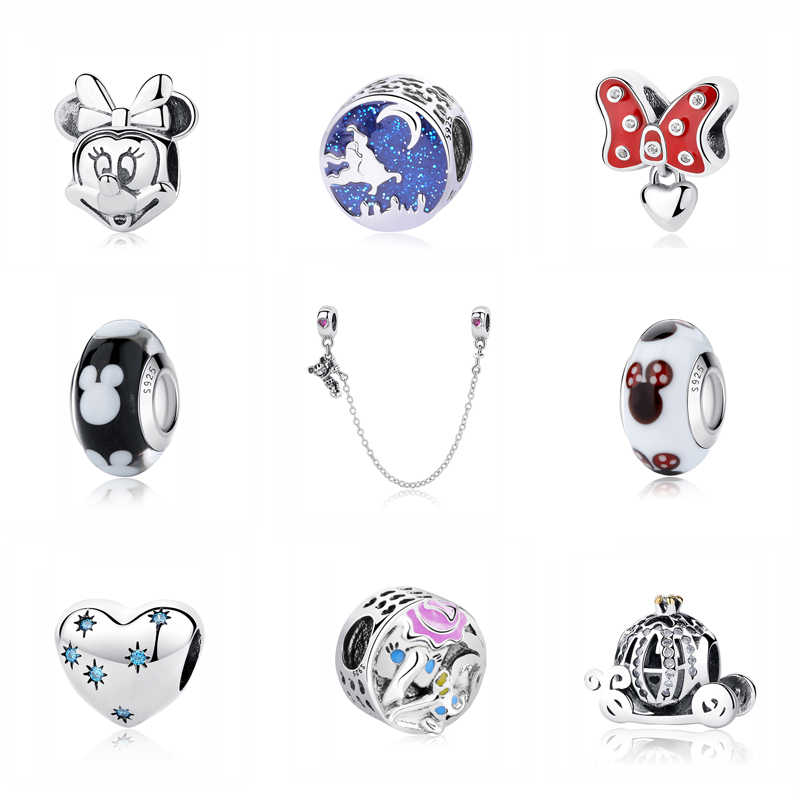 c6853cbed 925 Sterling Silver Bead Charm Fit Pandora Bracelets Original Minnie Red Bow  Shoe Pendant Charms Gift