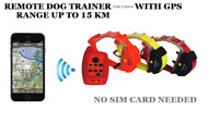 WATERPROOF DOG TRAINER WITH GPS TRACKER FOR 3 DOGS 15KM RANGE