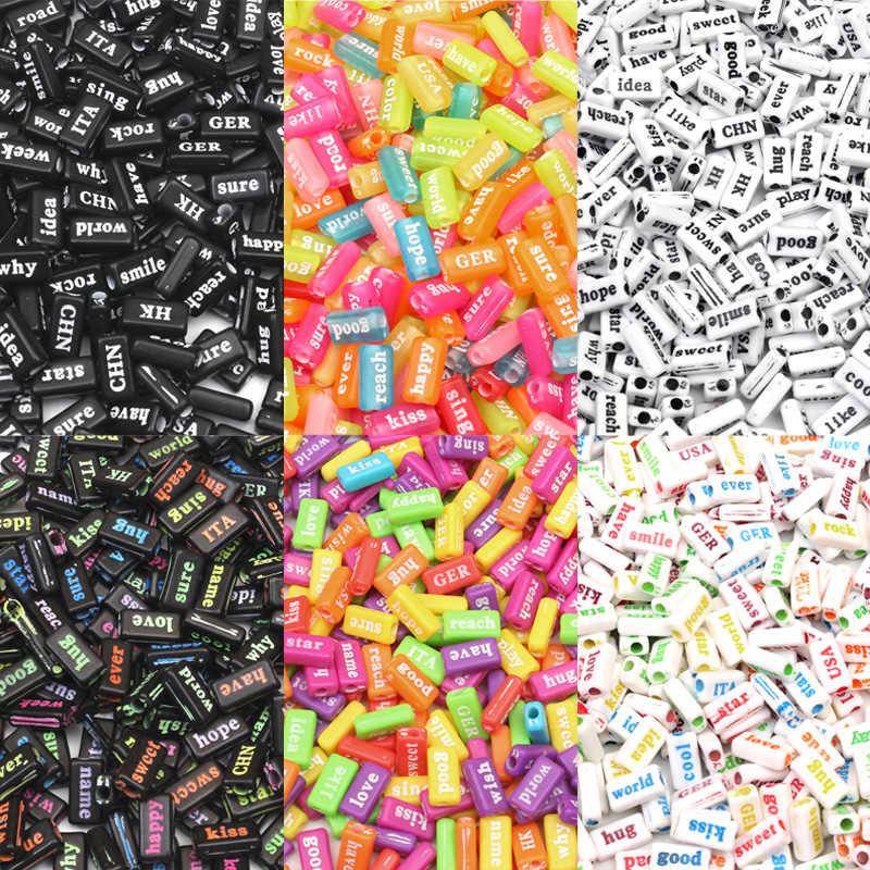 100Pcs Gemischte Bunte Brief Acryl Perlen 15mm Für Schmuck Kennzeichnung Lose Spacer Bead Armband Halskette Charme Schmuck Finden