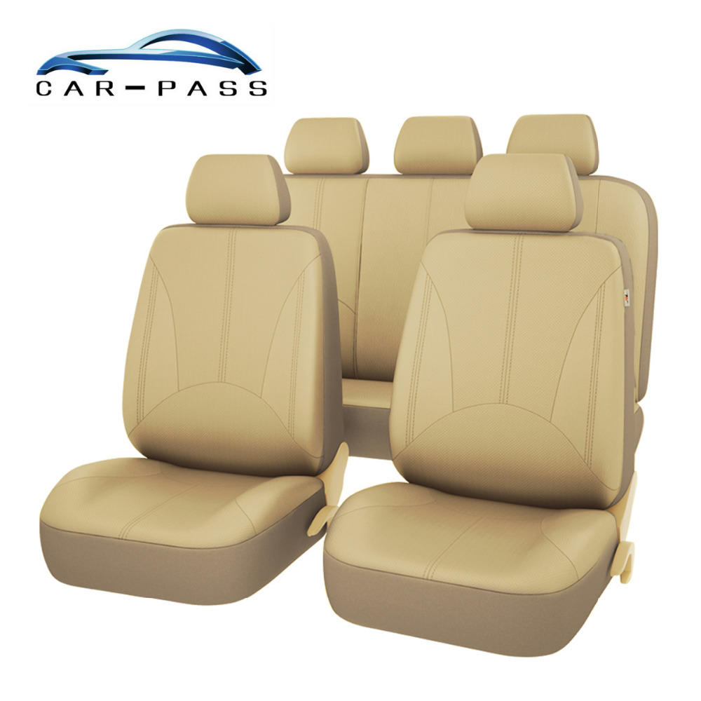 цена на Car-pass Beige Black Gray PU Leather Car Seat Cover Universal Full Seat Covers Cushion Auto Interior Accessories Car-Styling