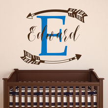 Boys Name Wall Decal Customized Sticker Nursery Decoration Monogram Arrow Kids Room Decor AY0276