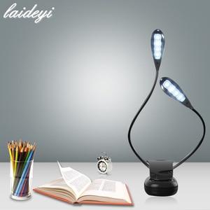 LAIDEYI 8 светодиодный USB музыкальный двухполюсный Настольный светильник, студийный светильник-подставка, прищепка, лампа для ухода за глазами,...