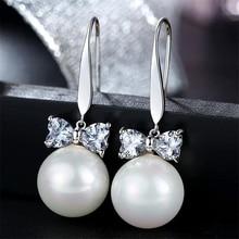 Korean OL Zircon Bow Pearl Earrings Crystal Pearl Dangle Earrings Pendientes Fine Jewelry Bijoux En Argent 925 Earring for Women цена