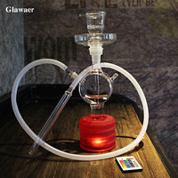2017 alarm clock modern glass art hookah shisha narguile chicha glass smoking pipe cheap and good quality red clear hookah base