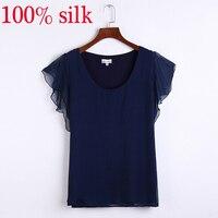 2015 Summer New Silk T Shirt Fake Two Piece Women S Fashion Lotus Sleeve Silk Short