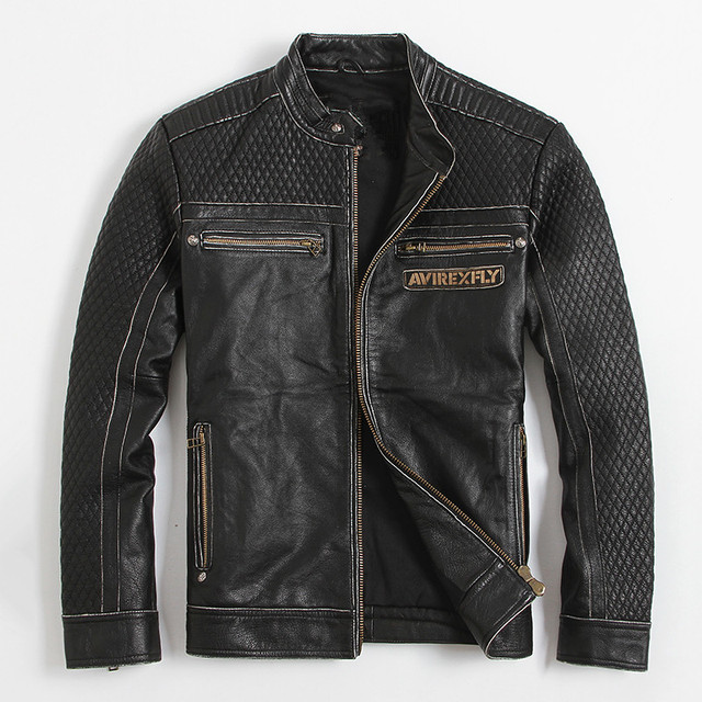 AVIREXFLY AMERICAN CUSTOM SKULL GENUINE COW LEATHER JACKET