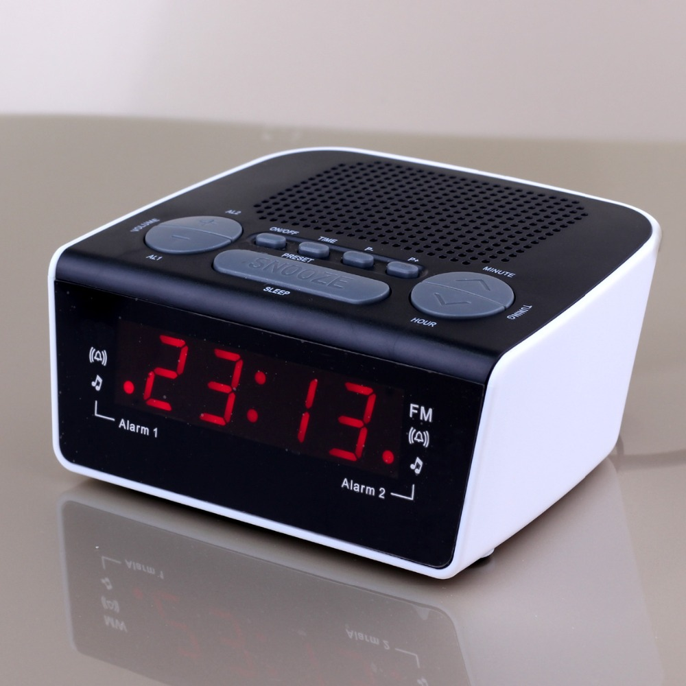 buy 0 6 inch led digital radio alarm clock dual alarm fm tuner and digital pll. Black Bedroom Furniture Sets. Home Design Ideas