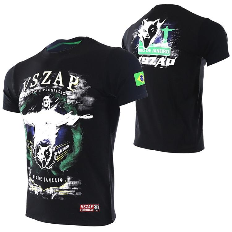 VSZAP Boxing MMA T Shirt Gym Men Brazil Brazilian Jiu Jitsu Tee Shirt Fighting Martial Arts Fitness Training Muay Thai T Shirt