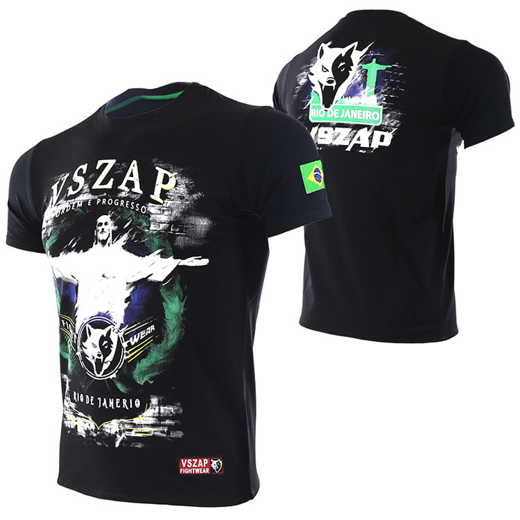 VSZAP Boxing MMA T Shirt Gym Men Brazil Brazilian Jiu Jitsu Tee Shirt Fighting Martial Arts Fitness Training Muay Thai T Shirt