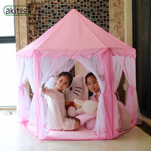 akitoo 116 upgrade Six Korean Angle Princess Castle Gauze Tent House Girl Large Indoor lights balls Toy Game Mosquito best gift(China)