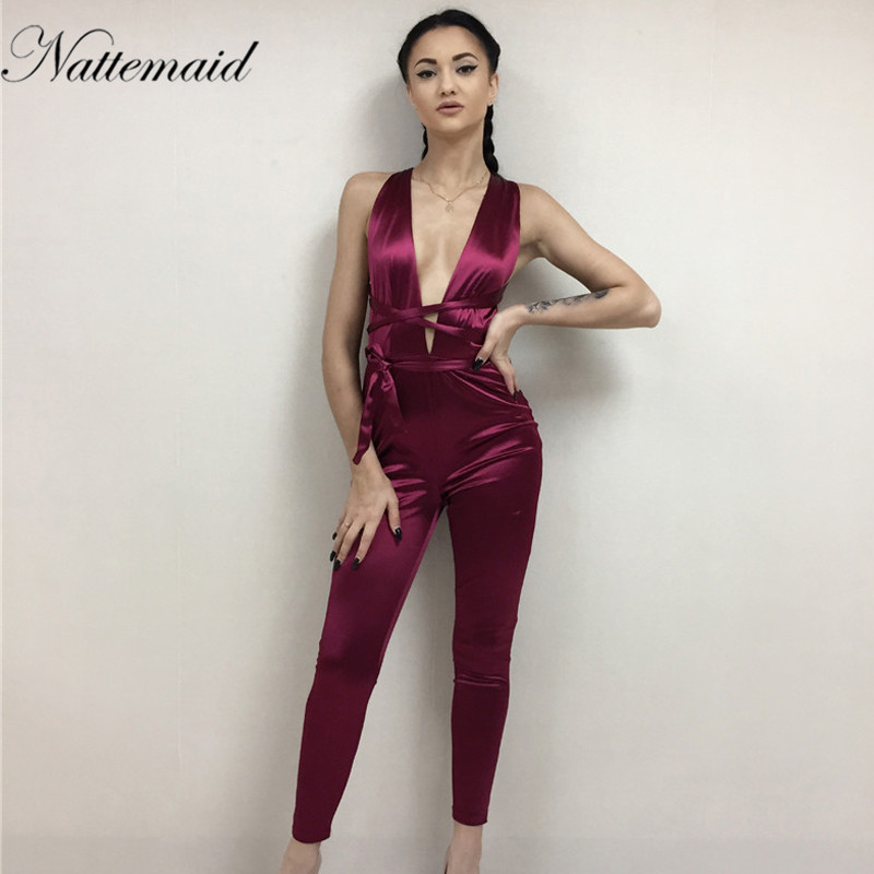 97acd56bad5 NATTEMAID 2017 Women jumpsuit summer sexy red bodycon Rompers Deep v ...