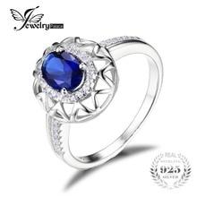 JewelryPalace Diseño Único 1.2ct Creado Azul Zafiro Anillo de Plata de Ley 925 de Joyería Fina para Las Mujeres Joyería Declaración