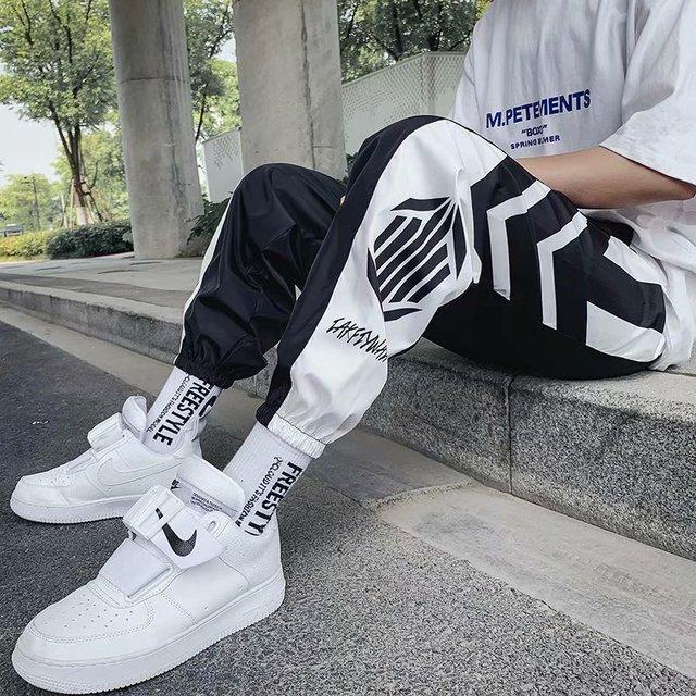 Men's Pants Pocket Cool Loose Men Cool HipHop Striped New Fashion Black Joggers Pants