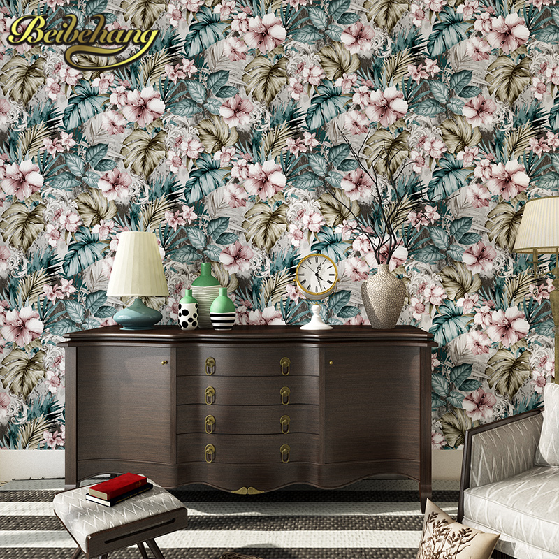beibehang papel de parede 3D Leaves Southeast Asia wall papers home decor Flocking wallpaper for walls 3 d contact paper bedroom massin verbes de contact 2ed